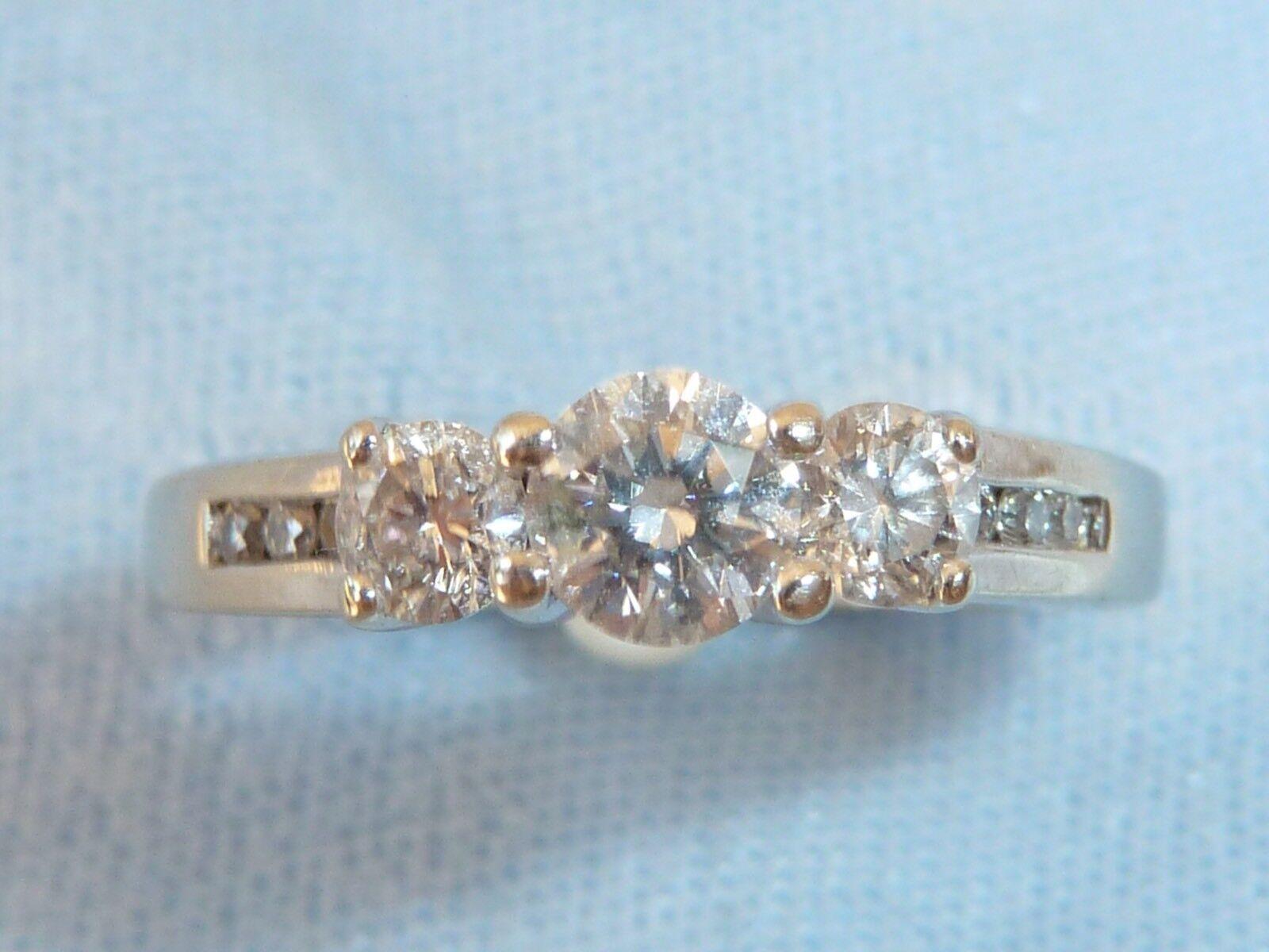 14K White gold Ring, 9 Diamonds, TCW .53 Carat, size 5
