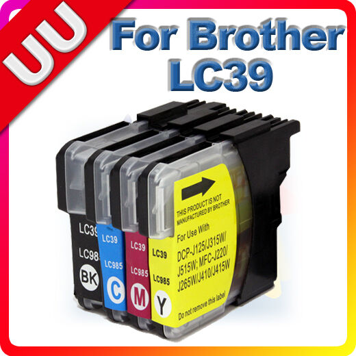 4x Ink Cartridge LC39 LC985 for Brother DCP J315W MFC J220 J265W J410 Printer