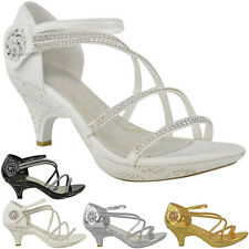 38119757ad Womens Ladies Low Heel Diamante Bridal Wedding Sandals Strappy Party Shoes  Size