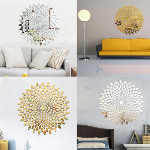 Removable 3D Mirror Modern Decal Art Mural Wall Stickers Set DIY Home Room Decor