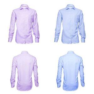 Fa-M-Ou-S-Mens-Textured-Cotton-Lilac-Blue-Long-Sleeve-Shirt-Size-14-5-18-RRP-29