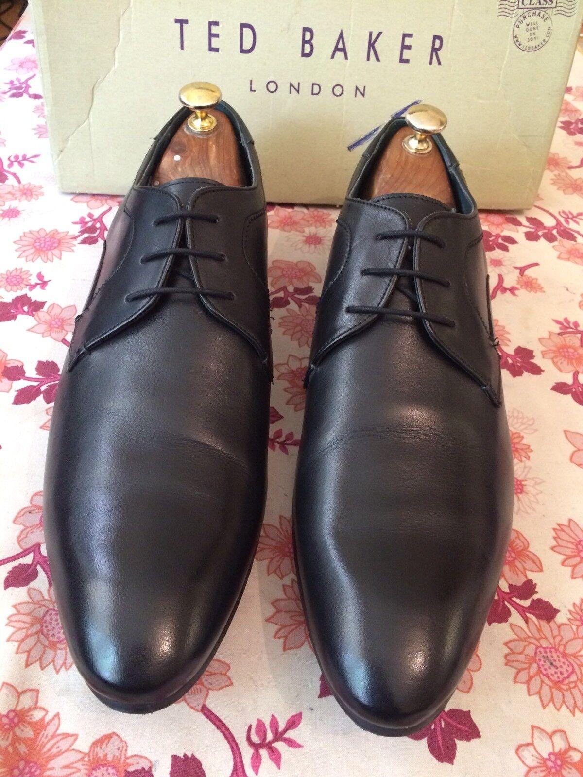 Ted Baker Leam Negro Cuero Hombre Derby Zapato Reino Unido 14, EU 48