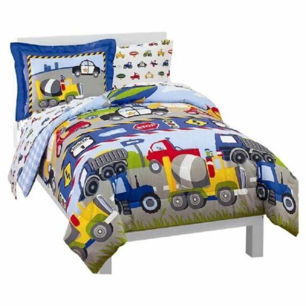 Dream Factory Trucks Tractors Cars Boys, Full Size Bedding For Toddler Boy