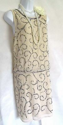 20'S FROCK AND FRILL GATSBY VINTAGE LOOK CHARLESTON BEADED FLAPPER DRESS SIZE 18