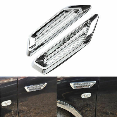2x Plastic Silver Car SUV Air Flow Fender Side Vent Decoration Sticker Accessory