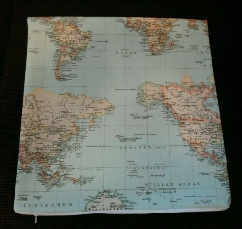 Kissenhülle Kissenbezug Erde Weltkarte Globus alle Größen Dekokissen Handarbeit