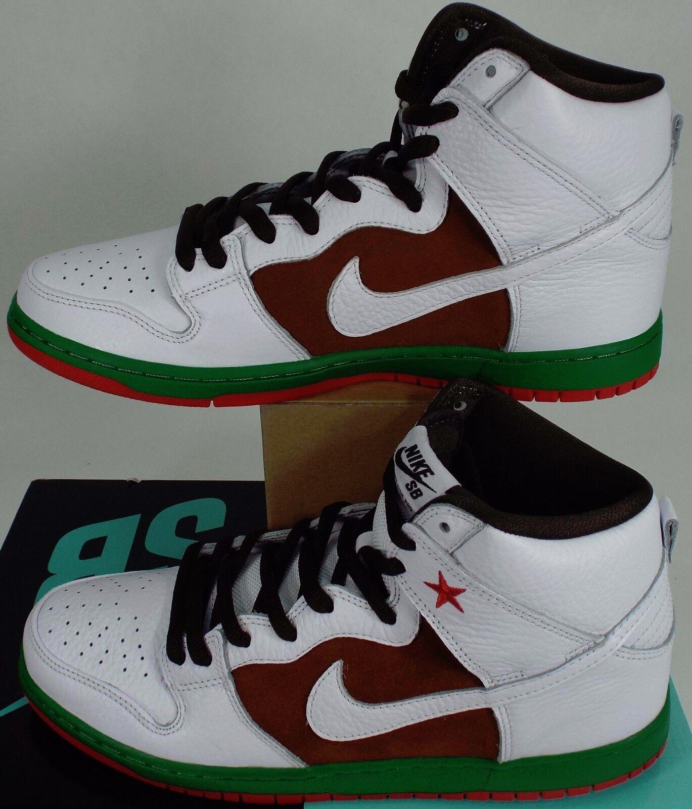 New Mens 10 NIKE Dunk High Premium SB Pecan White Leather Shoes    313171-201