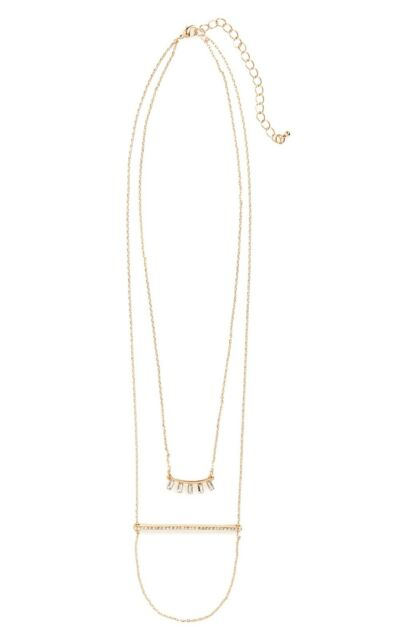 Nordstrom BP Crystal Bar Layering Necklace Gold-Tone, New $24