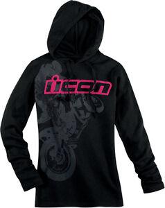 Icon-Womens-Britton-Stretch-Knit-Longsleeve-Hooded-Shirt-Hoodie-Hoody-Black
