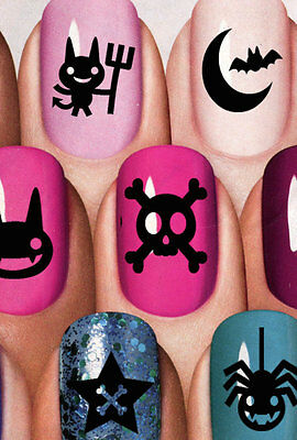 Nail Art Decals 85 EVILS SYMBOLS Black GOTH Water Transfer Wiccan Gothic Emo