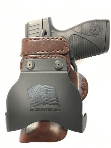 Leather Kydex Paddle Gun Holster LH RH For Glock 26 27 33 w// CT Laserguard