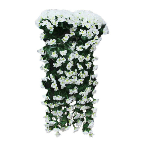 Hanging Wall Artificial Fake Silk Violet orchid Flowers Rattan Plant Basket USA