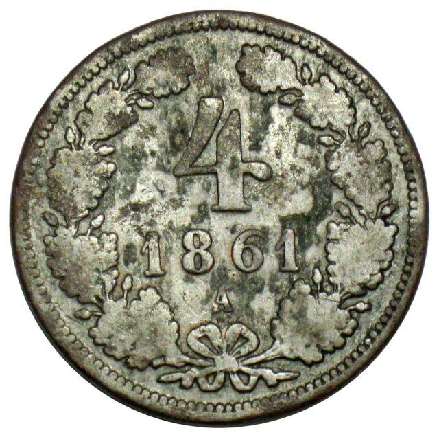 Austria 4 Kreuzer Coin 1861 A KM#2194