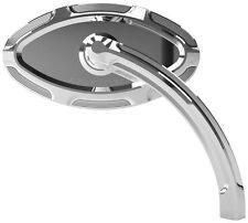 Arlen Ness Chrome Beveled Short Stem Left Side Mirror for Harley Softail Dyna