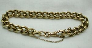 Gents-Very-Heavy-9-Carat-Gold-Curb-Link-Bracelet-9-1-2-Inches