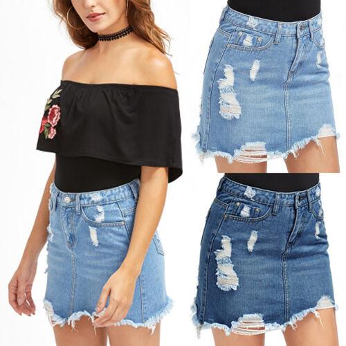 Women Ladies Ripped Shorts Denim Skirt High Waist Jeans Summer Casual Mini Dress