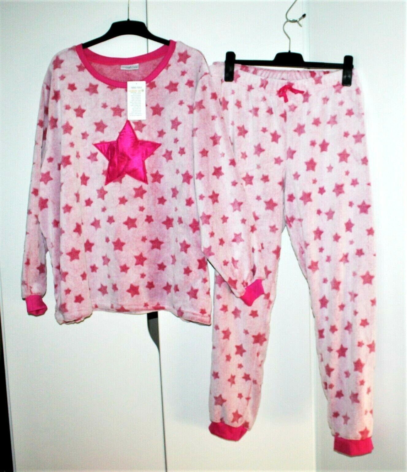Janina Damen Neu Kuschelschlafanzug Pijama Hausanzug Freizeitanzug Gr. 3XL 56/58