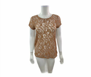 Ann Taylor Loft Women's Size MP Short Sleeve Scoop Neck Lace Top