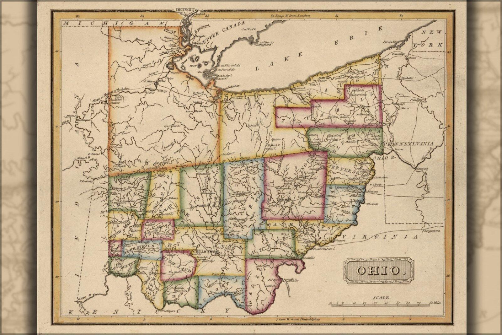 Poster, Many Größes; Map Of Ohio 1817