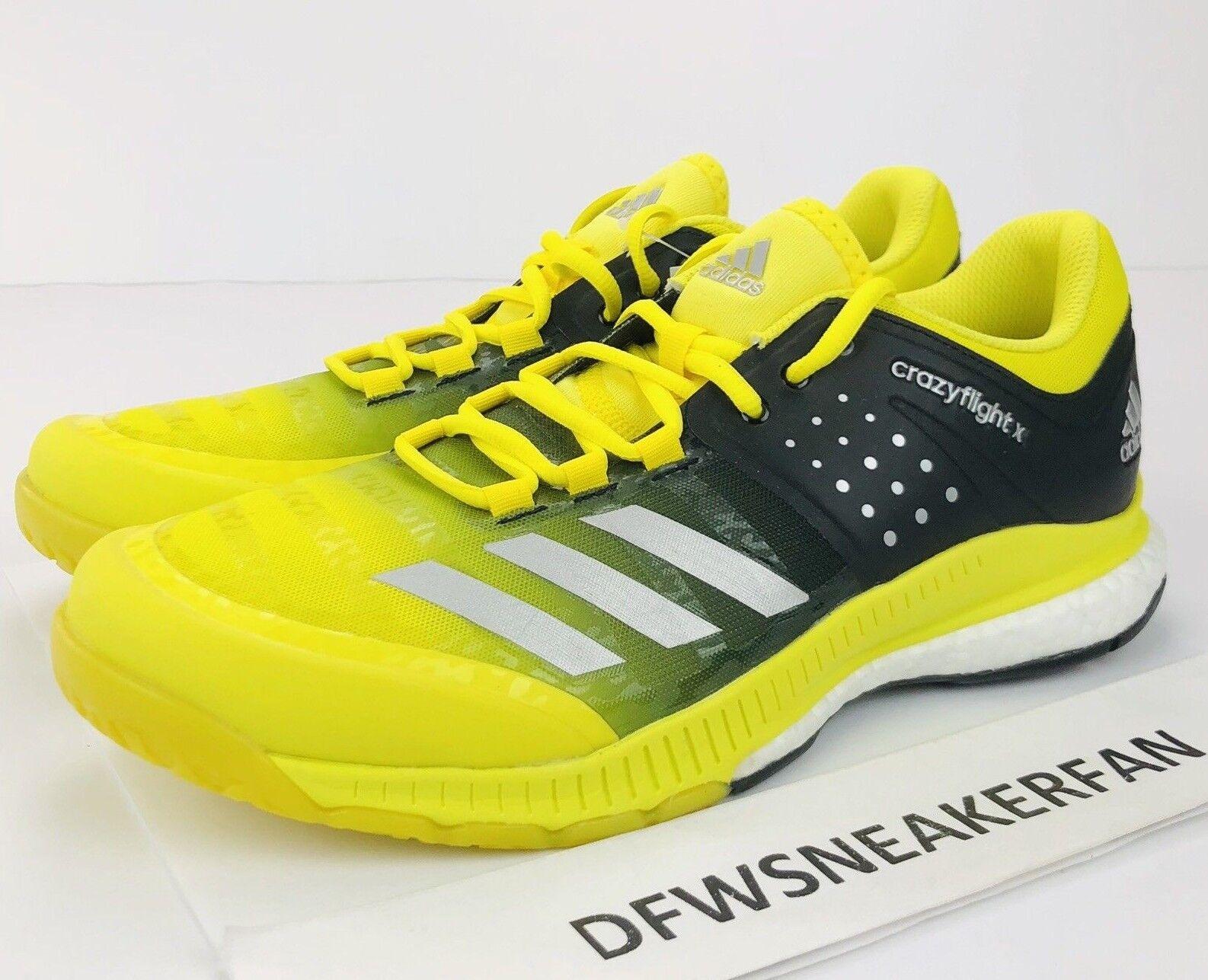 Adidas schuhe crazyflight x volleyball frauen größe 10,5  gelb / schwarz ba9267