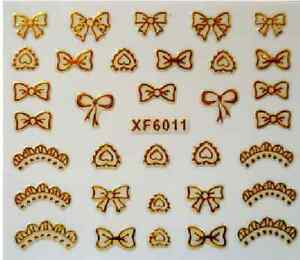 3D-Nail-Art-Decals-Transfer-Stickers-French-Tip-Gold-Bows-XF6011