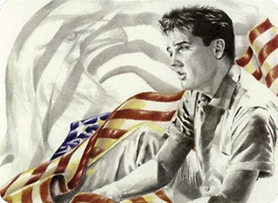 Elvis Presley USA Flagge Blechschild 8x11 cm Blechkarte Sign PC-201/551