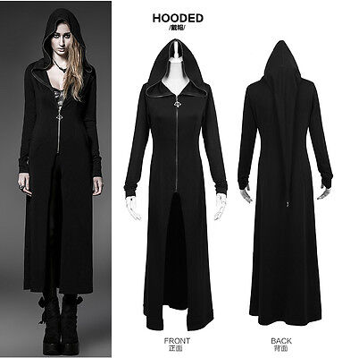 Punk Rave Goth Long Black Witches Cardigan Shirt Hoodie Jacket Coat Steampunk XL