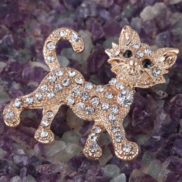 Gold Plated Rhinestone Crystal Cat Brooch Pin Party Wedding Women Jewelry Gift
