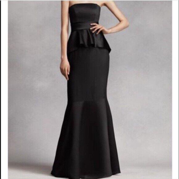 White by Vera Wang S 4 Black strapless Satin Peplum Gown Formal Dress Evening