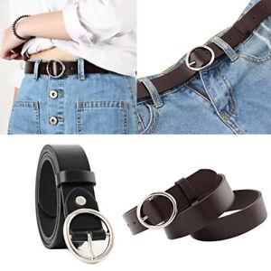 Women-Lady-Vintage-Metal-Boho-Leather-Round-Buckle-Waist-Belt-Solid-Waistband-HU