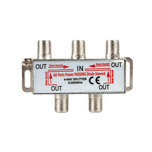 PBD 4 Way HD Digital 1Ghz High Performance Coax Cable Splitter