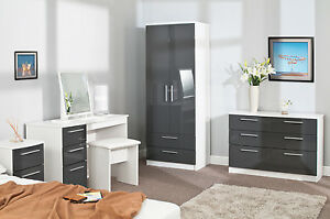 Image Is Loading High Gloss Grey On White Luxury Bedroom Furniture