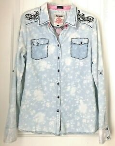 ROAR-Brand-Chambray-Style-Western-Button-Down-Shirt-Jewel-Accents-Blue-Size-L