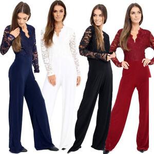 e0eb61ade3 Ladies Women s Plus Size Lace Evening Party Playsuit Romper Jumpsuit ...