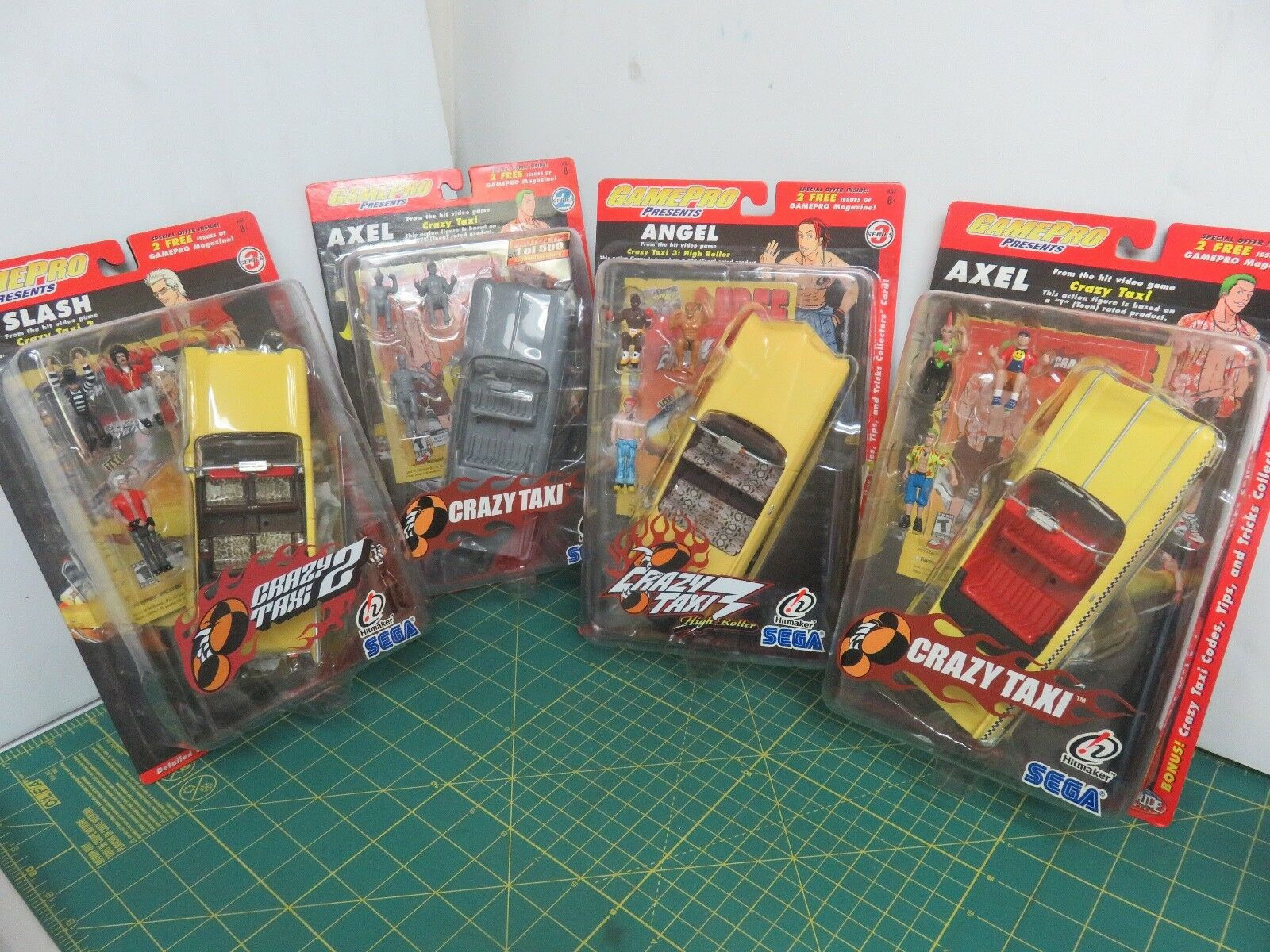 Gamepro Crazy Taxi Series Figure Lot Slash Axel Angel Predotype Sega Joyride New