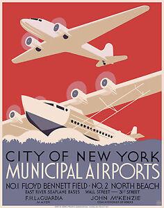 a1-satin-Cool-Retro-Travel-Poster-ART-PRINT-New-York-Airports-art-painting