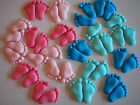 24 x BABY SHOWER BABY FEET edible cupcake toppers CHRISTENING Sugar Decorations