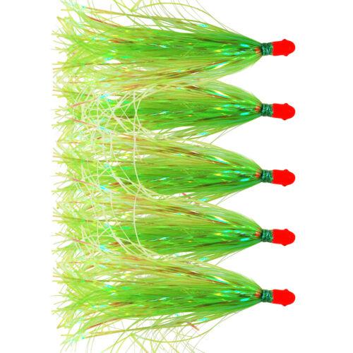 Jig Head Fishing Lure Mylar Flash Sea Striker Teaser Tail with Skirted Hair 5Pcs