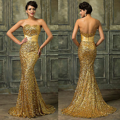 RED SEQUINS Mermaid Long Formal Prom Dresses Wedding Party Evening Ball Gown New