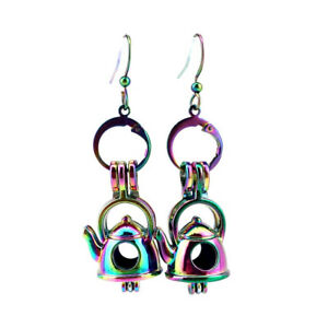 Rainbow-Color-Teapot-Pearl-Cage-Earrings-Hooks-with-8mm-Plastic-Beads-Z623