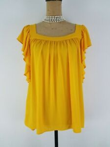 Ann-Taylor-Women-Blouse-Top-Small-Mango-Yellow-Ruffled-Square-Neck-Short-Sleeve