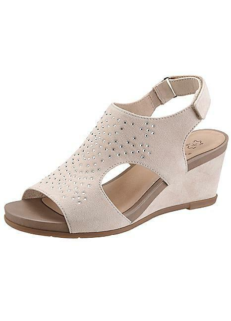 Jana Wedge Sandals Beige Uk 3.5 Eur 36 Wide Fit rrp  EM21 03 SALEs