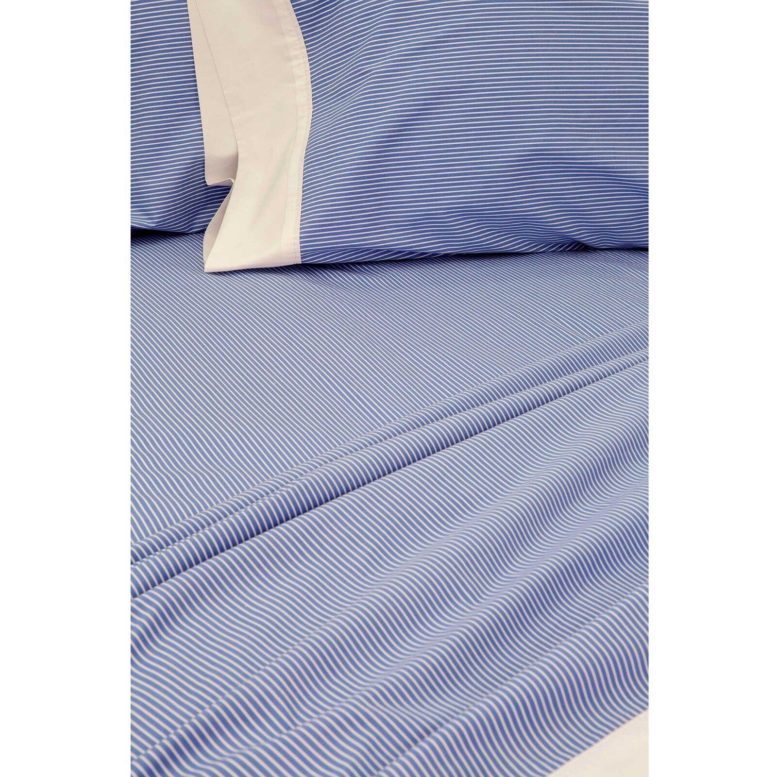 Bespoke Bengal Stripe Queen Sheet Set in blueeeee White With White Cuff