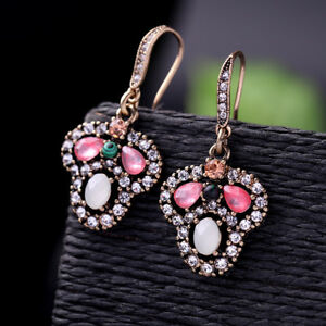 Women-Elegant-Fashion-Vintage-Earrings-Stud-Pink-Crystal-Rhinestone-Jewelry