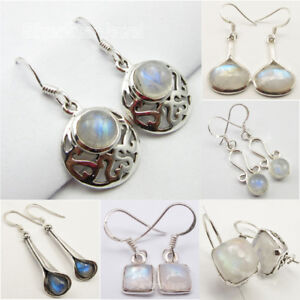 SilverArt 925 Sterling Silver Plated Handmade Rainbow Moonstone Earring for Womens and Girls