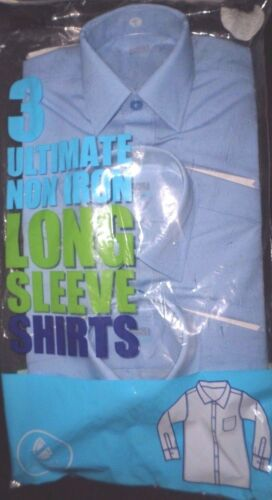 3 PACK BOYS BLUE LONG  SLEEVE SCHOOL SHIRTS 3 YEARS NEW M/&S ULTIMATE NON IRON