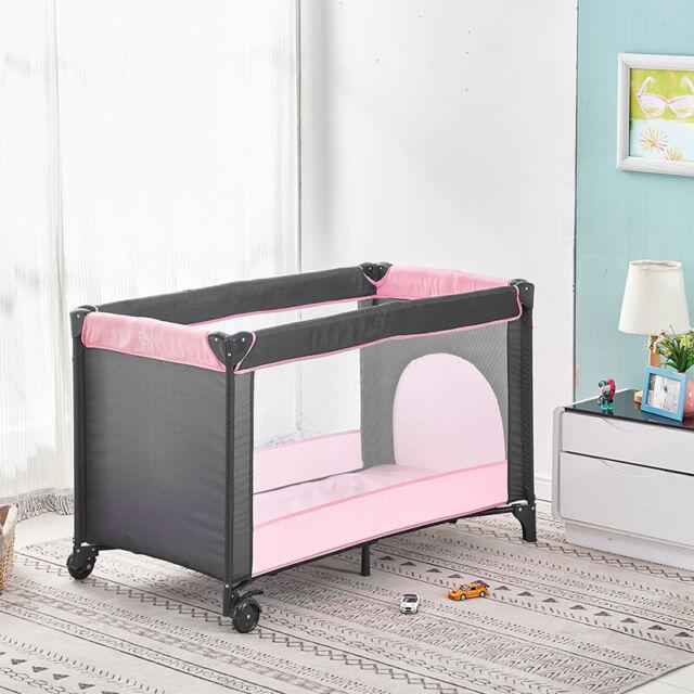 Portable Baby Travel Cot Crib Foldable Infant Playpen Bassinet w/ Mattress Wheel