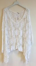 New Lagenlook Quirky Cotton CROCHET Poncho Oversized Layering Asymmetric Top WHT
