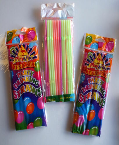 PARTY DRINKING STRAWS Multi Coloured Bendable 40 Pack