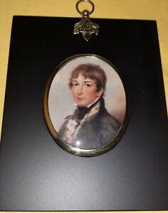 Portrait Miniature of midshipman in an acorn hanger black frame c1900